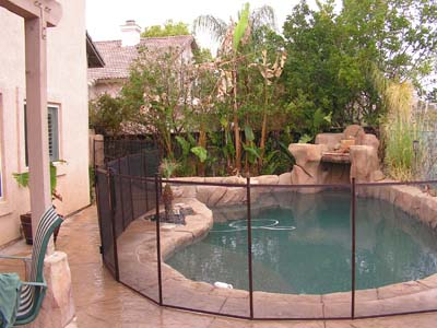 4 Foot Brown Mesh Pool Fence- Canoga Park 2